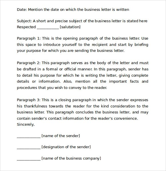 8 Proper Business Letter Format Templates Download for Free Sample - how to compose a business letter