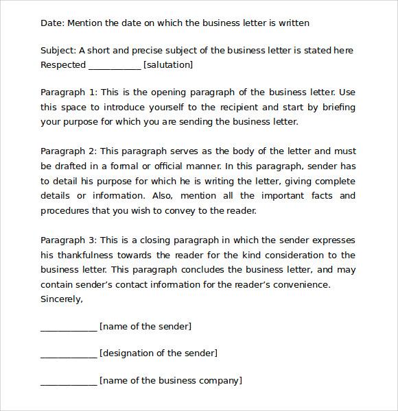 correct business letter format