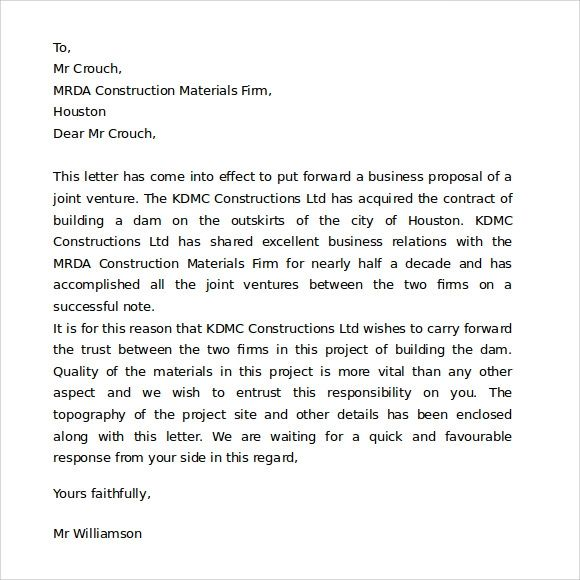 correct format for a business letter