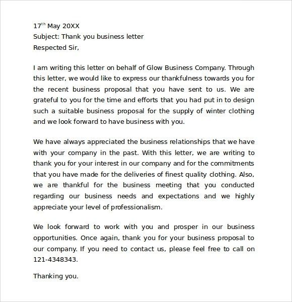 10+ Sample Thank You for Your Business Letters Sample Templates - business thank you letter samples