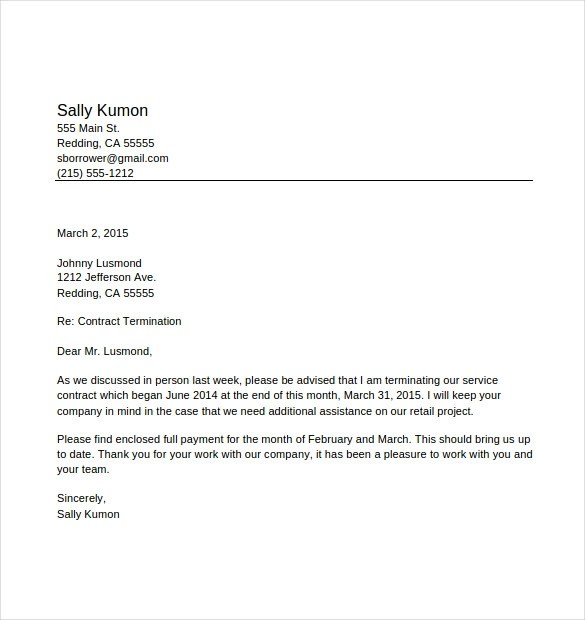 sample letter for termination of employment contract