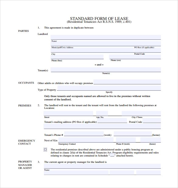 Sample Standard Lease Agreement Rental Car Agreement Template Car