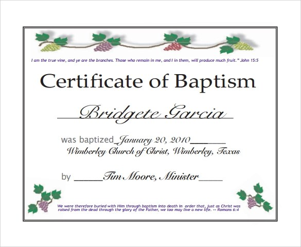 picture relating to Printable Baptism Certificate called Printable Baptism Certification Templates Gallery - Resume