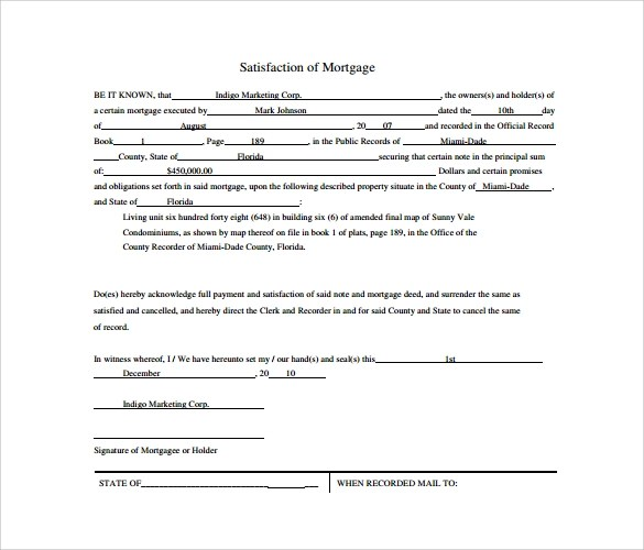 9 Satisfaction of Mortgage Form Download for Free Sample Templates - satisfaction of mortgage form