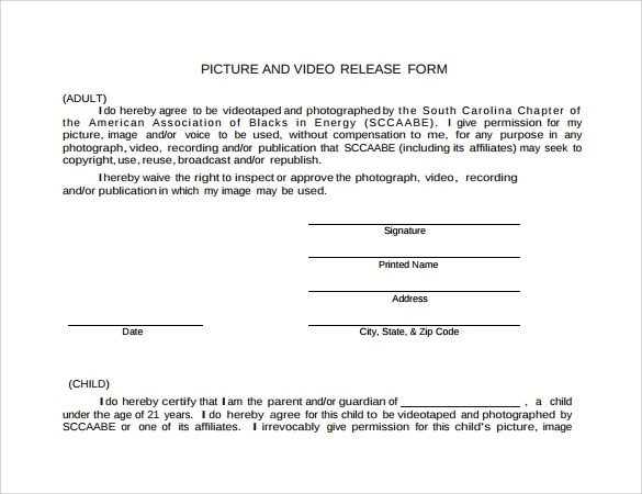 9+ Video Release Forms Sample Templates - video release forms