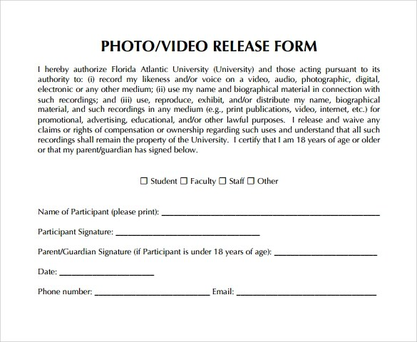 9+ Video Release Forms Sample Templates