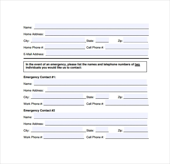 12 Sample Emergency Contact Forms to Download Sample Templates - contact form template word