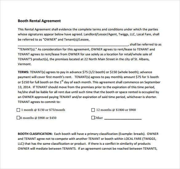 Rental Agreement Utilities Clause – Booth Rental Agreement