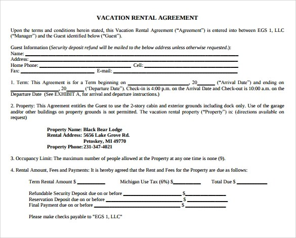 Vacation Home Rental Agreement Gallery - Agreement Letter Format