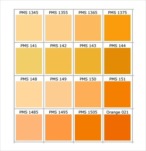 26 Color Chart Templates Sample Templates - General Color Chart Template