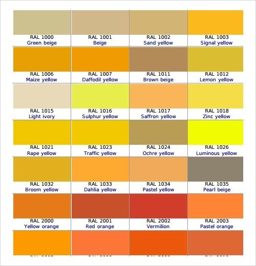 Sample Color Chart Template - 25+ Free Documents in PDF, Word - ral color chart