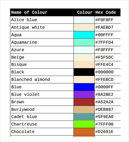 26 Color Chart Templates Sample Templates