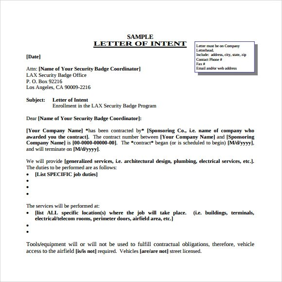 10 Letter of Intent for a Job Template Download for Free Sample - letter of intent word template