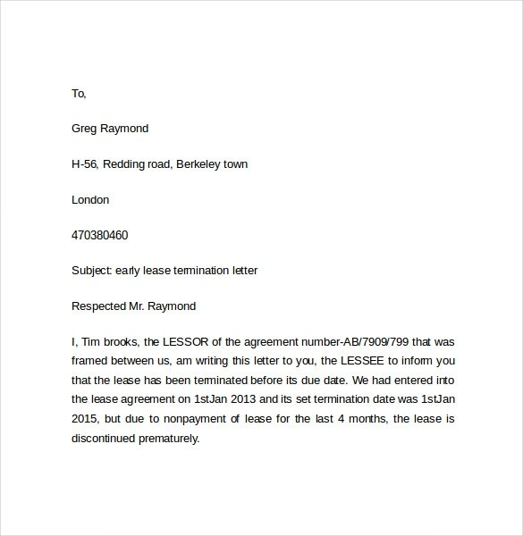 Early Lease Termination Letters - 9+ Download Free Documents in PDF
