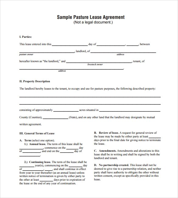 Sample Pasture Lease Agreement Pastureleasepic Writing A Pasture