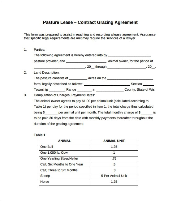 Sample Pasture Lease Agreement Templates - 7+ Free Documents in PDF - sample pasture lease agreement template