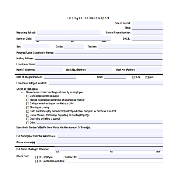 employee incident report template free - Maggilocustdesign