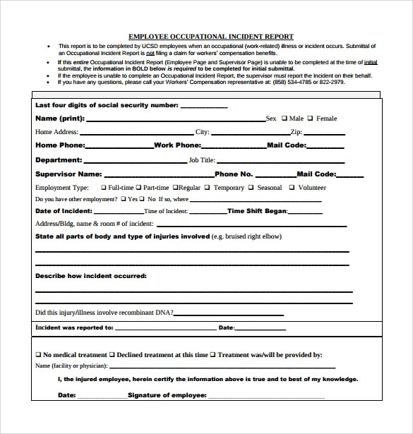 15+ Employee Incident Report Templates \u2013 PDF, Word, Pages Sample