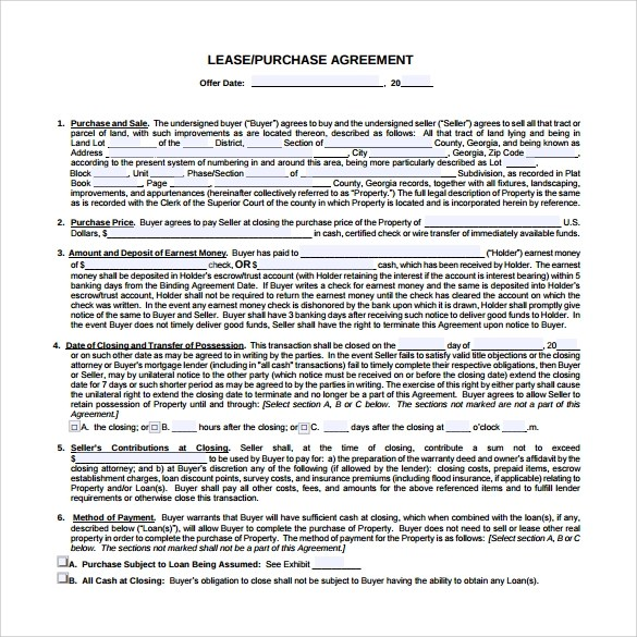 10+ Sample Lease Purchase Agreement Templates Sample Templates - Lease Purchase Agreement