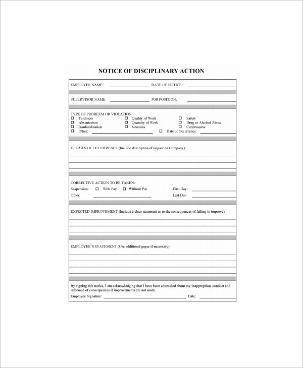 8+ Sample Employee Write Up Forms Sample Templates - write up template