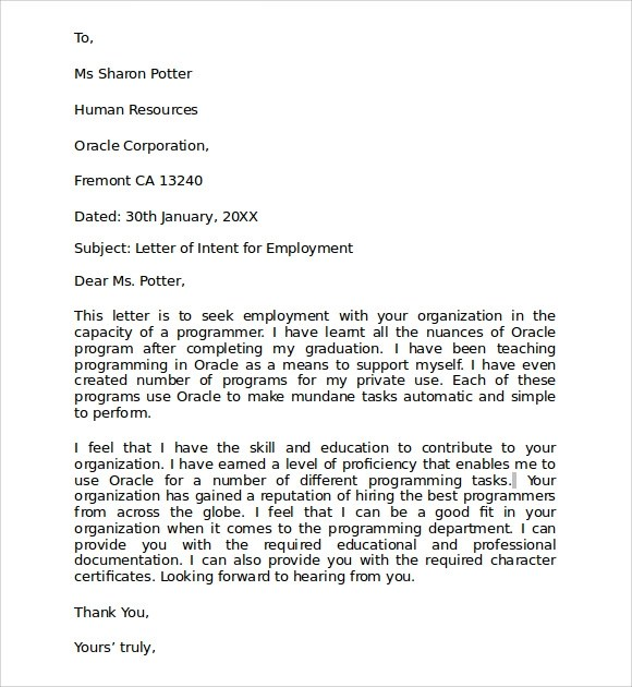 9+ Letter of Intent for Employment Samples \u2013 PDF, DOC Sample Templates