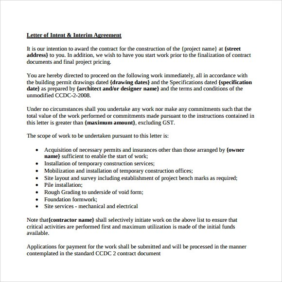 9+ Letter of Intent for Employment Samples \u2013 PDF, DOC Sample Templates - Letter Of Intent Layout