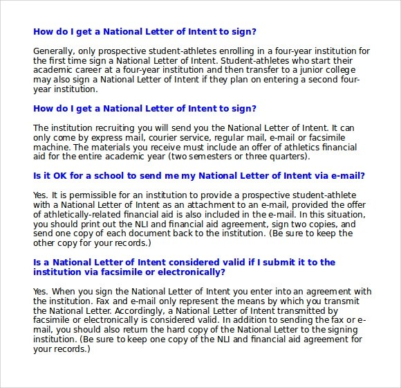 Sample National Letter of Intent - 9+ Free Documents in PDF, Word