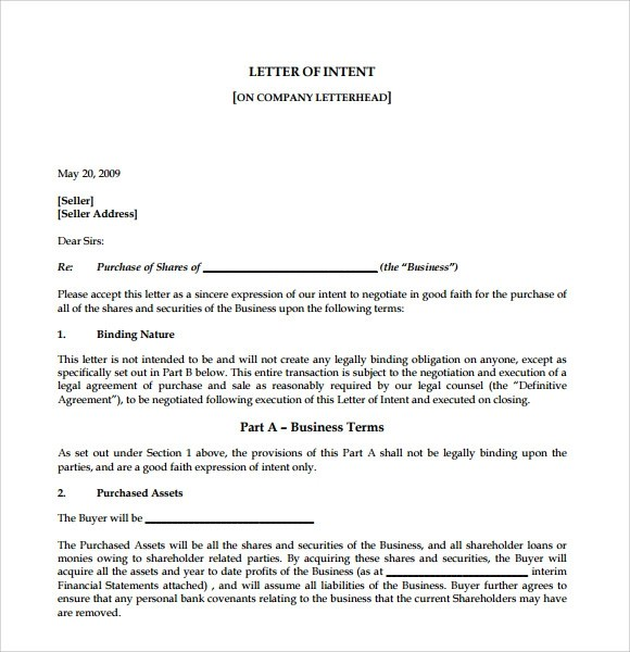 9+ Letter of Intent to Purchase Business Samples Sample Templates