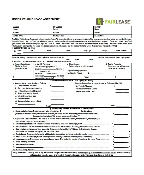 12+ Printable Lease Agreement Templates - Free Sample, Example, Format - sample vehicle lease agreement
