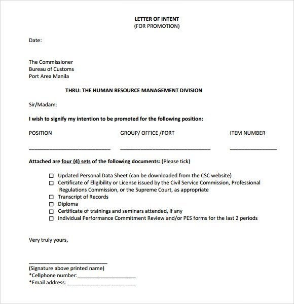 Internal Promotion Resume Template Sample Letter Of Intent For Promotion 9 Documents In