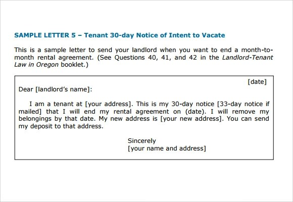 Notice To Vacate Template Letter Notice To Vacate Template Letter