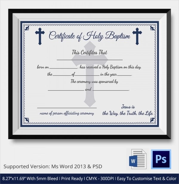 Sample Baptism Certificate - 20+ Documents in PDF, WORD, PSD