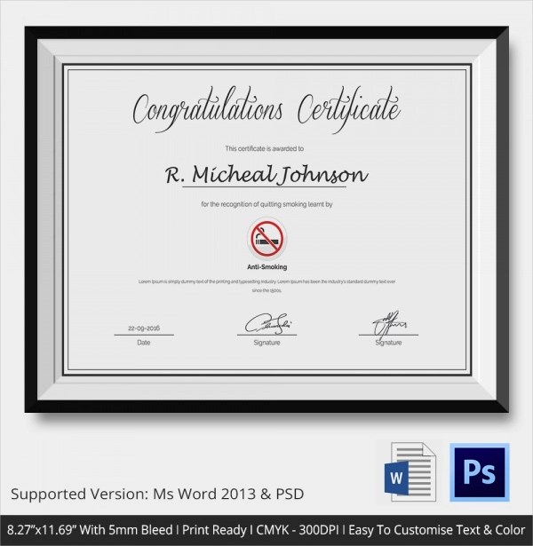 23+ Congratulations Certificate Templates Sample Templates - congratulations certificate templates