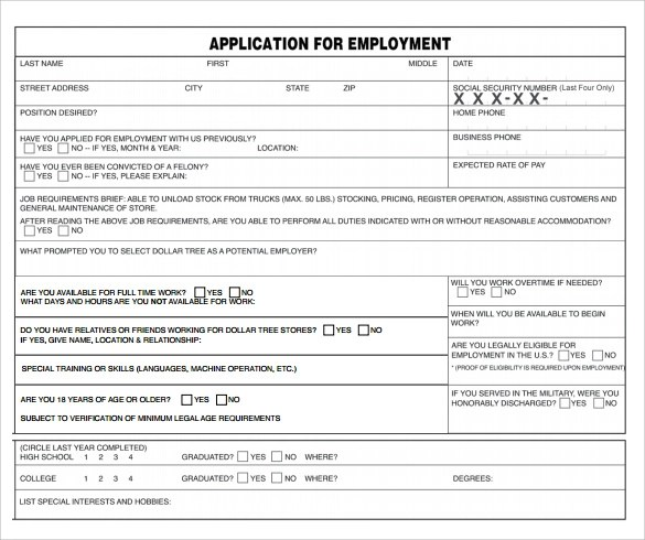 6 Dollar Tree Application Form Download for Free Sample Templates - Dollar Tree Application Form