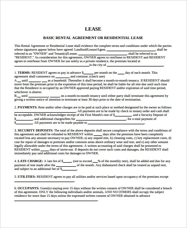 10+ Sample Blank Lease Agreement Templates Sample Templates