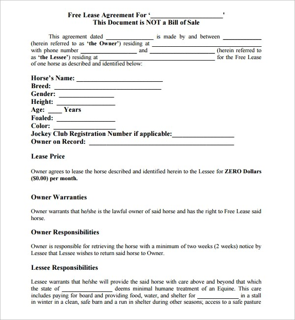 Sample Horse Lease Agreement - 9+ Free Documents in PDF, Word - lease document free