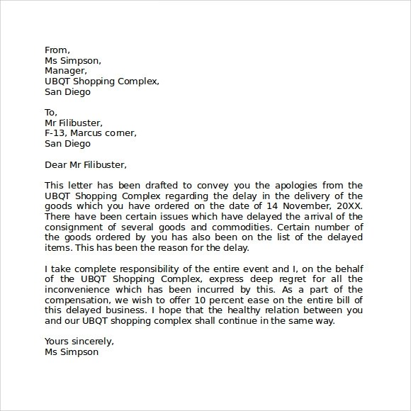 Professional Apology Letter Example Example 10 Tips For Writing - work apology letter example