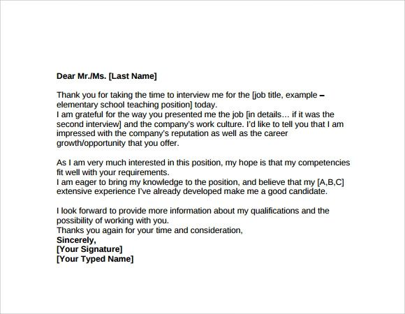 thank you letter after informational interview