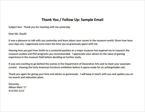 8+ Thank You Note After Interview Samples Sample Templates