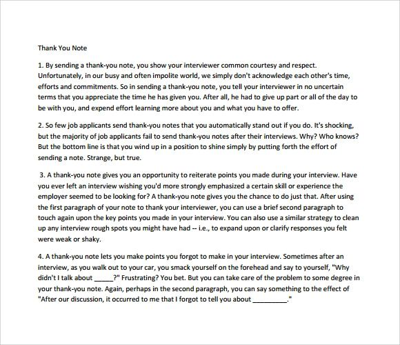thank you note to interviewer