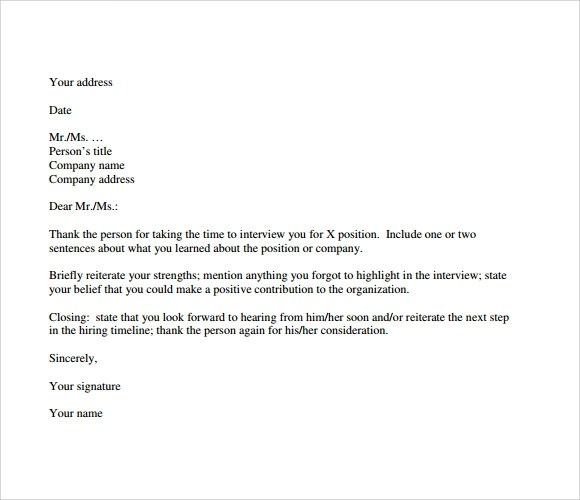 Sample Thank You Note After Interview - 7+ Documents in PDF, Word