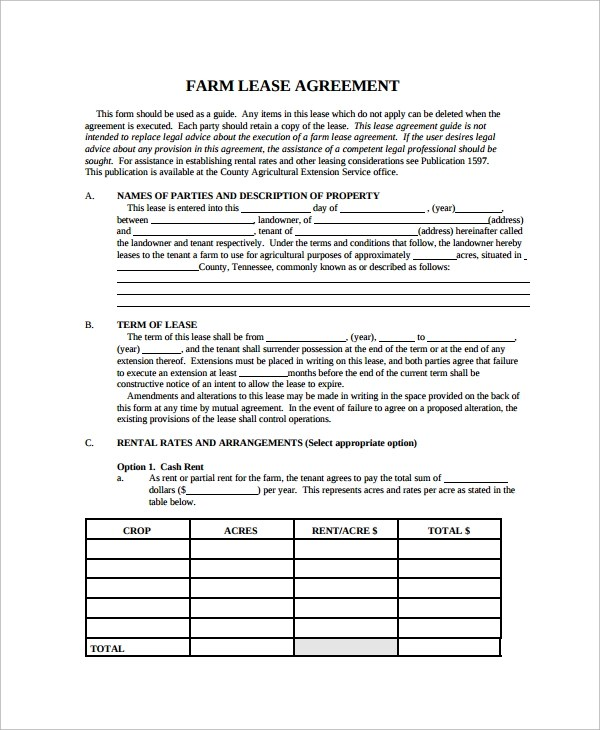 8+ Land Lease Agreement Templates - Free Sample, Example, Format - property lease agreement template