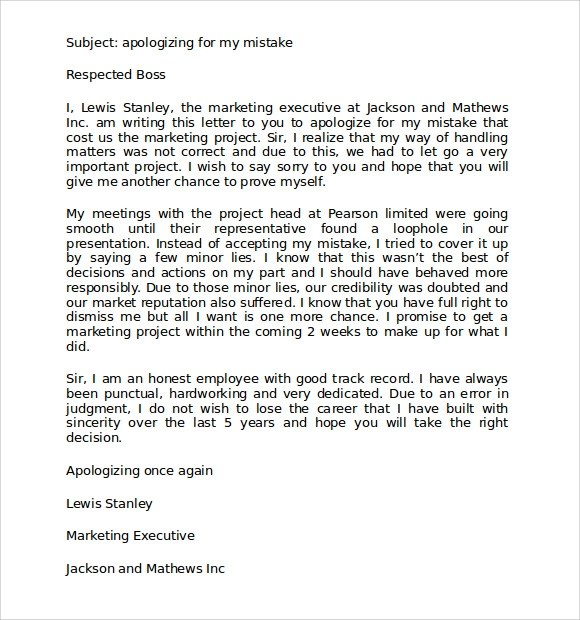 9 Free Download Apology Letters for Mistake Sample Templates - Letter Of Apology To Your Boss