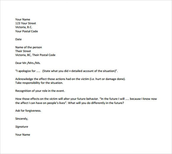 9+ Apology Letters for Mistake \u2013 PDF, Word Sample Templates - format of apology letter