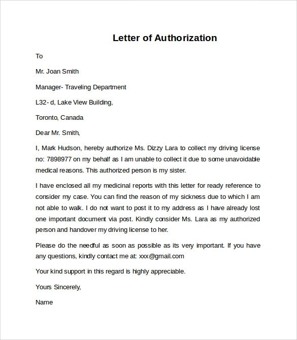 12+ Letter of Authorization Templates \u2013 PDF, Word, Pages Sample - letter authorizing