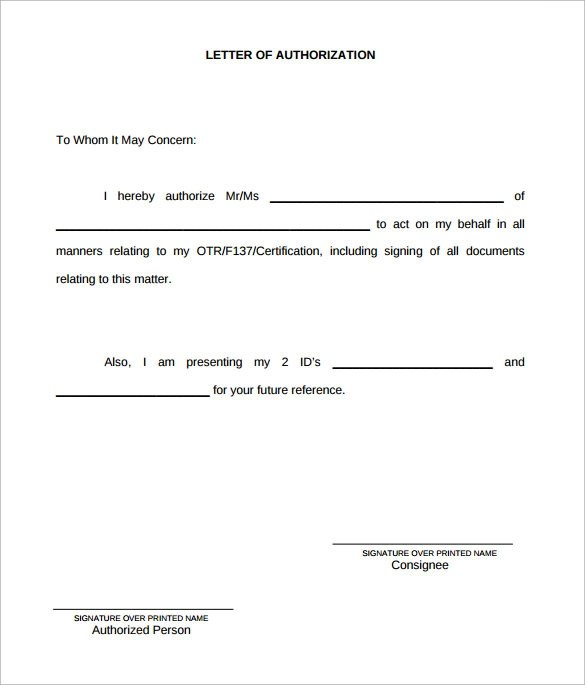Authorization Letter Format Free Download example authorization