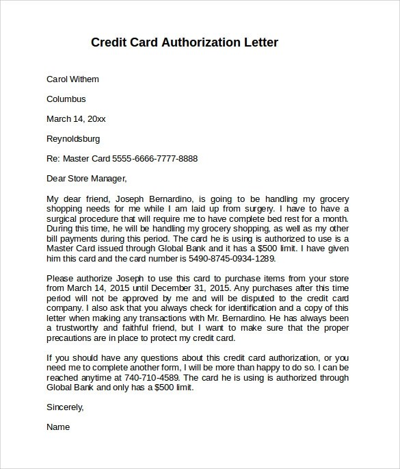 10 Credit Card Authorization Letters to Download Sample Templates - authorization to use credit card