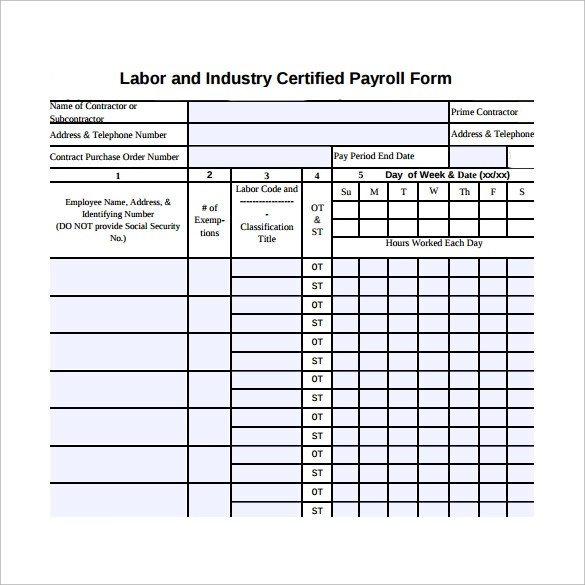 9+ Certified Payroll Forms Sample Templates