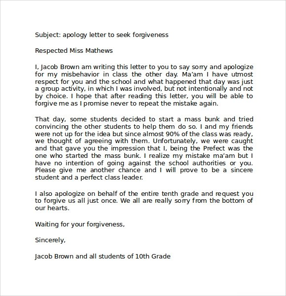 8 Apology Letters to Teacher Download for Free Sample Templates - Letter To A Teacher