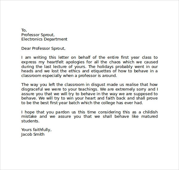 Download Free 8 Apology Letters to School Sample Templates